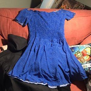 Off the shoulder blue & white polka dot mini dress